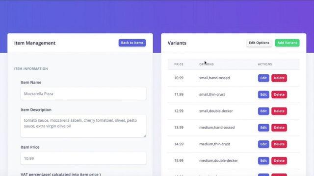 Simple online restaurant menu editor
